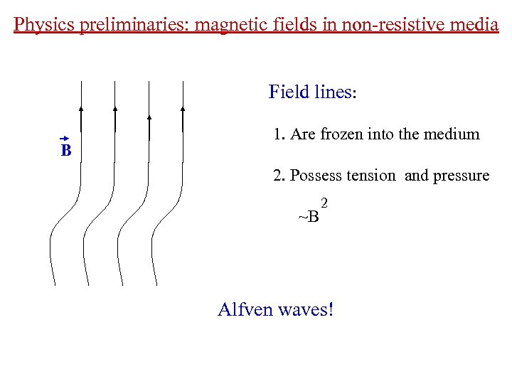 Physics preliminaries: magnetic fields in non-resistive media Field lines: B 1. Are frozen into