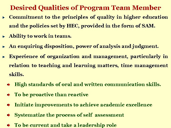 Desired Qualities of Program Team Member Commitment to the principles of quality in higher