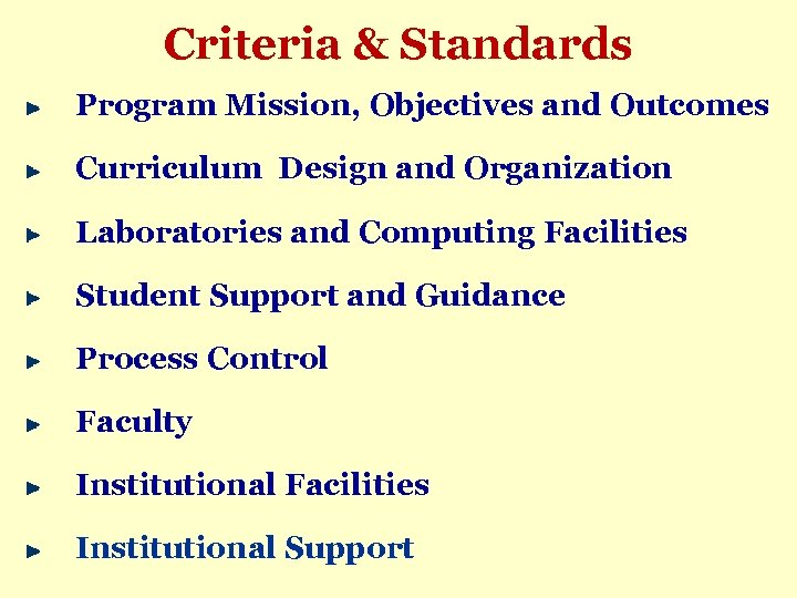 Criteria & Standards Program Mission, Objectives and Outcomes Curriculum Design and Organization Laboratories and