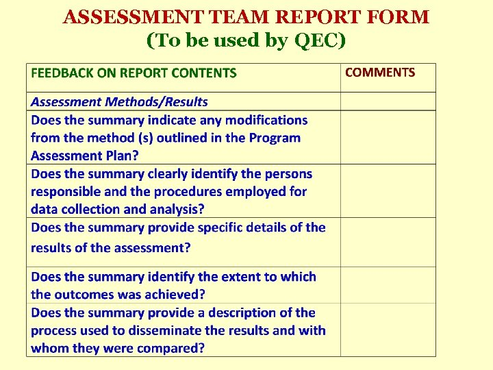 ASSESSMENT TEAM REPORT FORM (To be used by QEC)