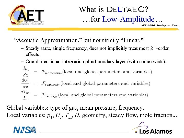 "What is Delta. EC? …for Low-Amplitude… AET-6: NDE Development Team ""Acoustic Approximation, "" but"