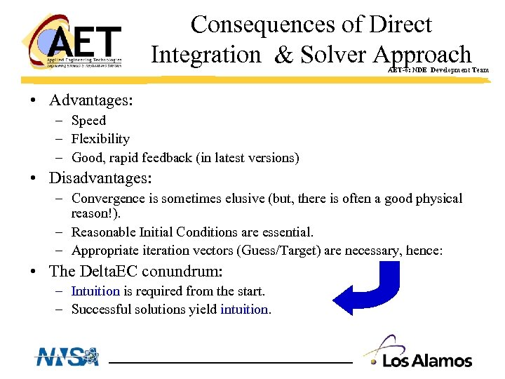 Consequences of Direct Integration & Solver Approach AET-6: NDE Development Team • Advantages: –
