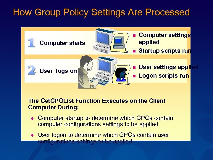 How Group Policy Settings Are Processed n Computer starts n User logs on n