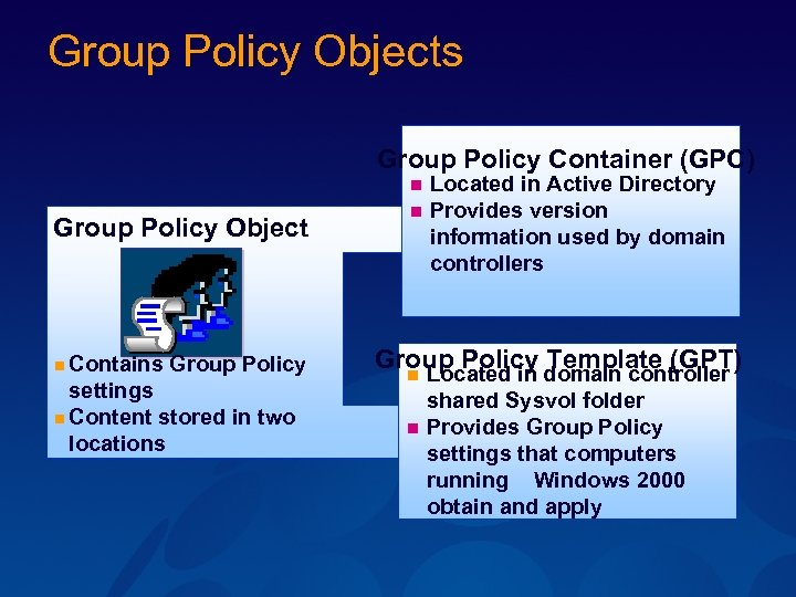 Group Policy Objects Group Policy Container (GPC) n Group Policy Object n Contains Group