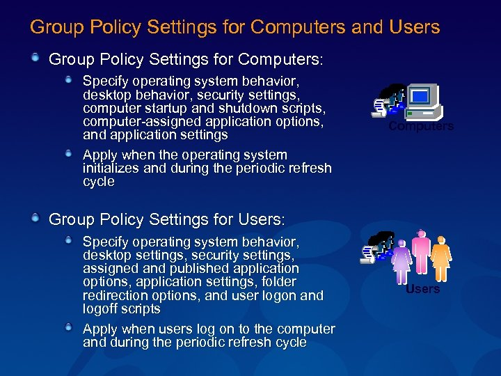 Group Policy Settings for Computers and Users Group Policy Settings for Computers: Specify operating