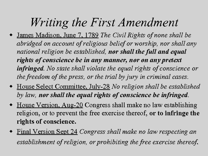 Writing the First Amendment w James Madison, June 7, 1789 The Civil Rights of
