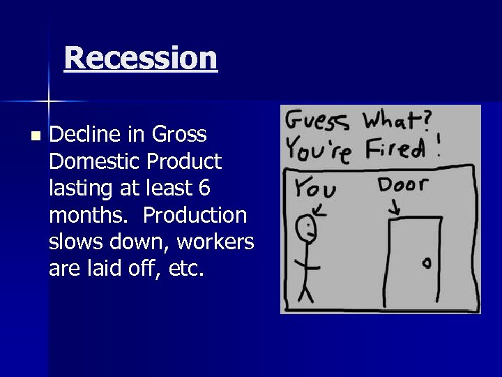 Recession n Decline in Gross Domestic Product lasting at least 6 months. Production slows