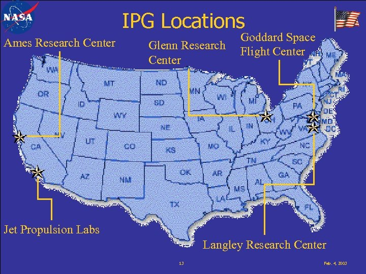 IPG Locations Ames Research Center Glenn Research Center Goddard Space Flight Center Jet Propulsion