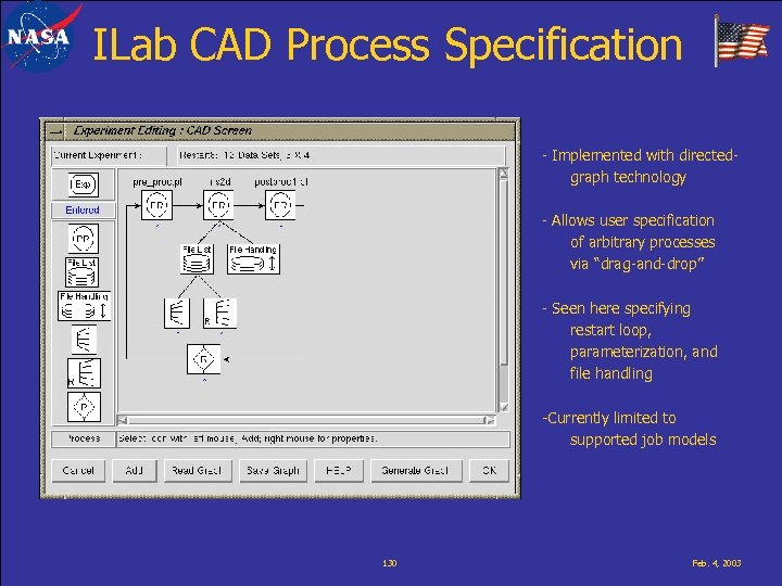 ILab CAD Process Specification - Implemented with directedgraph technology - Allows user specification of