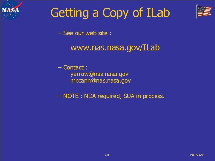 Getting a Copy of ILab – See our web site : www. nasa. gov/ILab