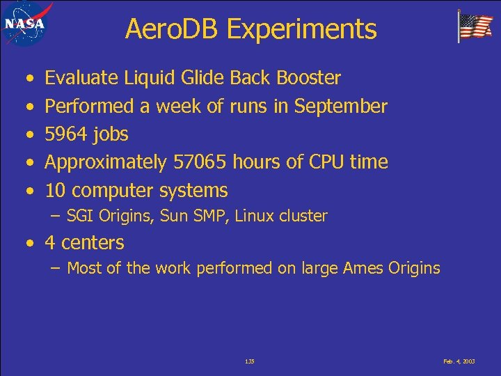 Aero. DB Experiments • • • Evaluate Liquid Glide Back Booster Performed a week