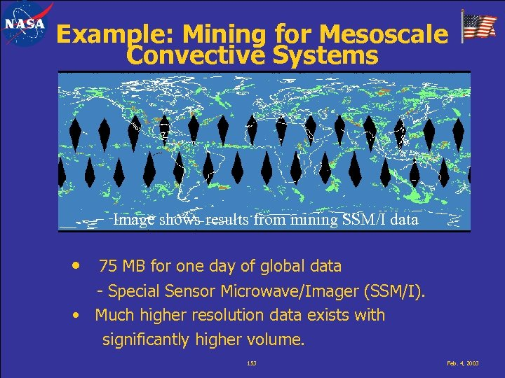 Example: Mining for Mesoscale Convective Systems Image shows results from mining SSM/I data •
