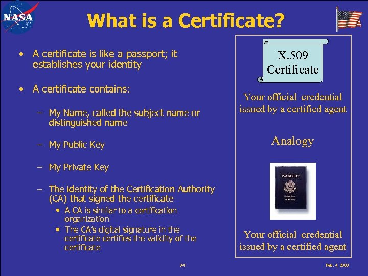What is a Certificate? • A certificate is like a passport; it establishes your