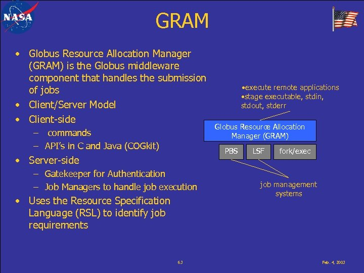 GRAM • Globus Resource Allocation Manager (GRAM) is the Globus middleware component that handles