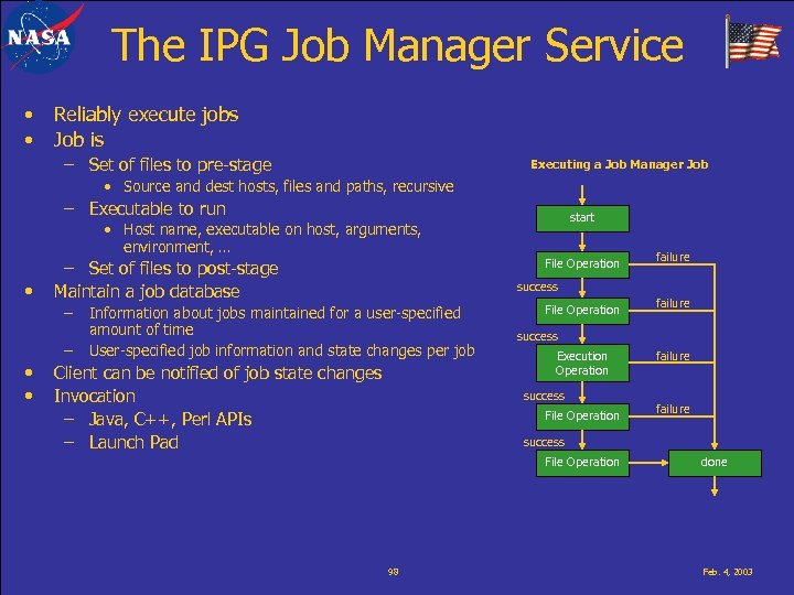 The IPG Job Manager Service • • Reliably execute jobs Job is – Set