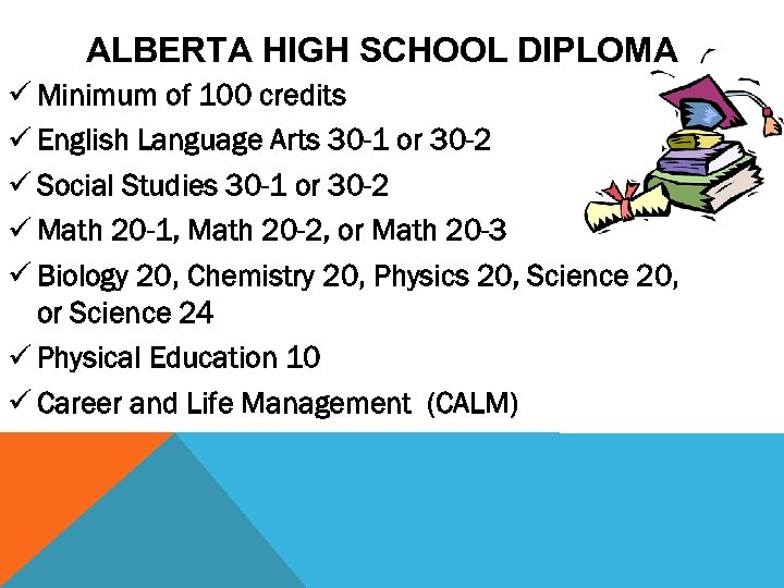 ALBERTA HIGH SCHOOL DIPLOMA ü Minimum of 100 credits ü English Language Arts 30