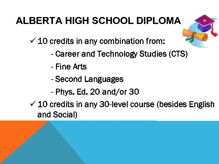 ALBERTA HIGH SCHOOL DIPLOMA ü 10 credits in any combination from: - Career and