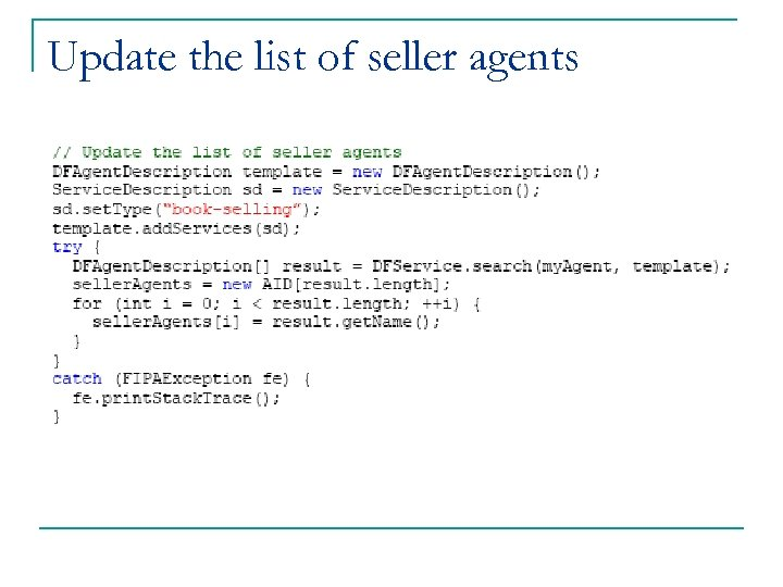 Update the list of seller agents