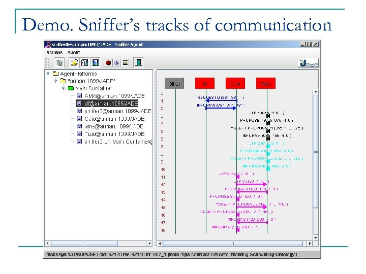Demo. Sniffer's tracks of communication