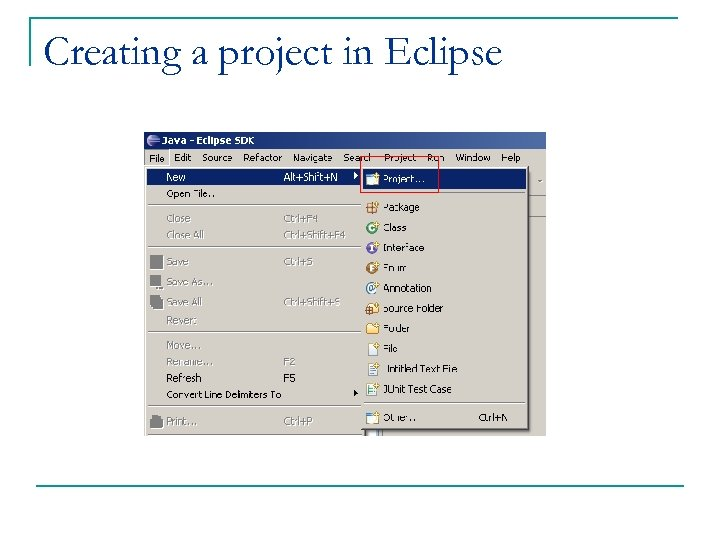 Creating a project in Eclipse