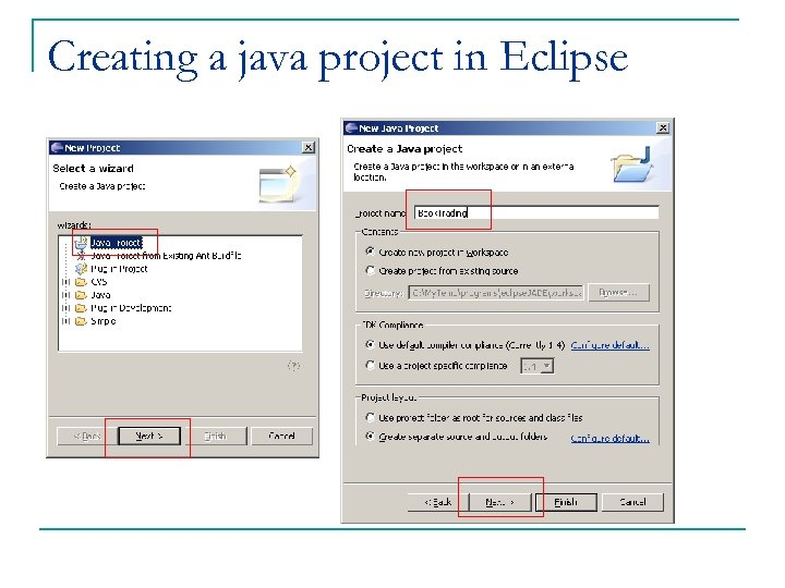 Creating a java project in Eclipse