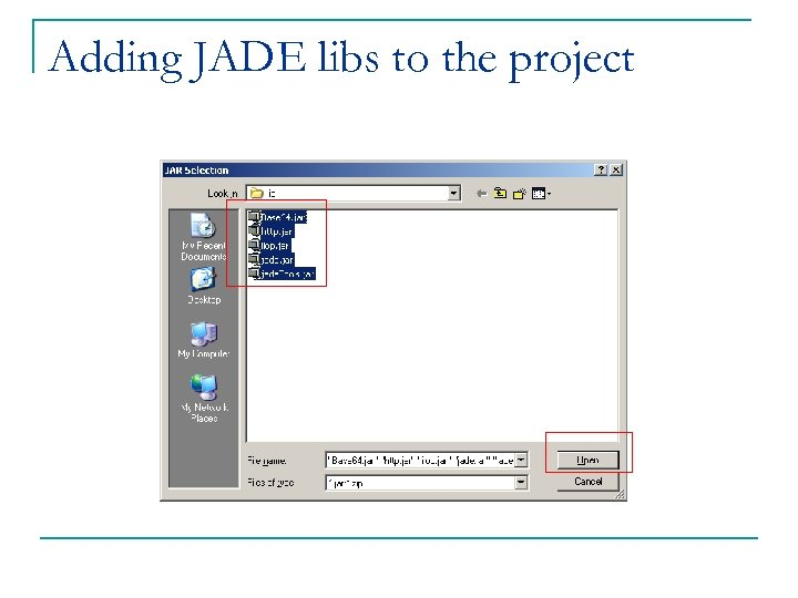 Adding JADE libs to the project