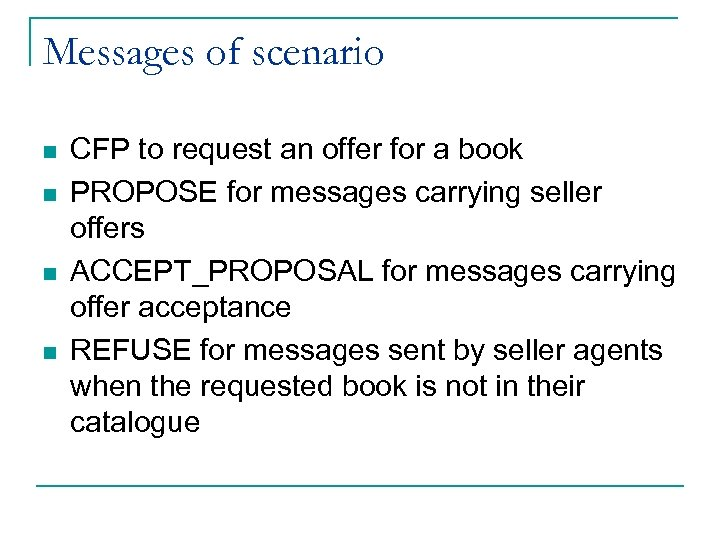 Messages of scenario n n CFP to request an offer for a book PROPOSE