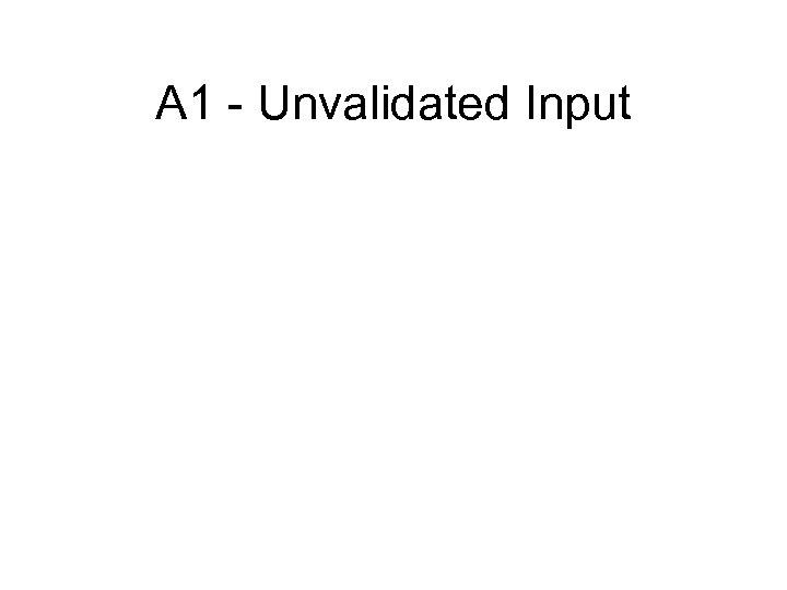 A 1 - Unvalidated Input