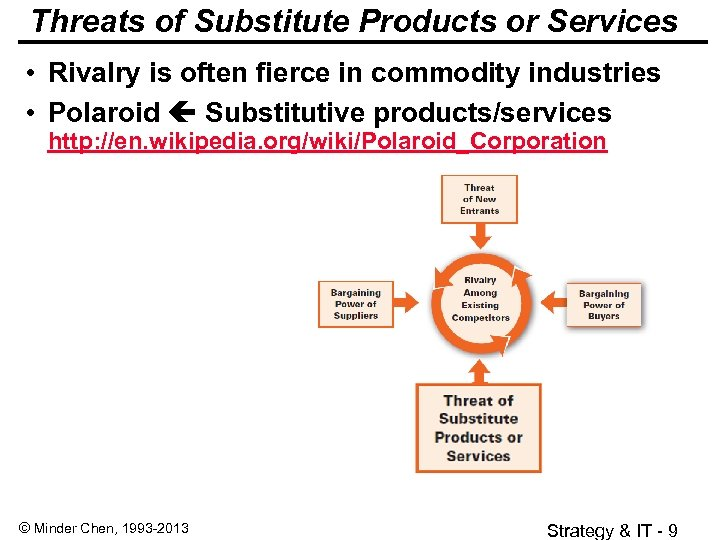 Threats of Substitute Products or Services • Rivalry is often fierce in commodity industries