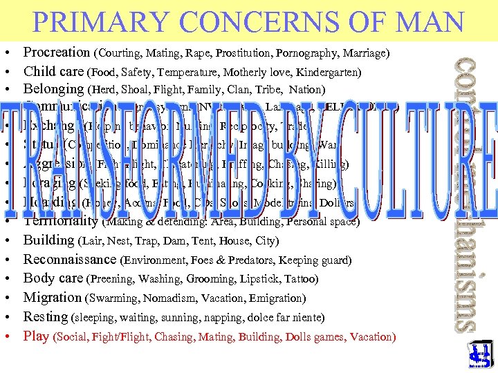 PRIMARY CONCERNS OF MAN • • • • Procreation (Courting, Mating, Rape, Prostitution, Pornography,