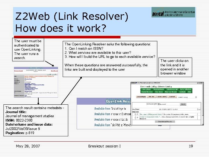 Z 2 Web (Link Resolver) How does it work? The user must be authenticated