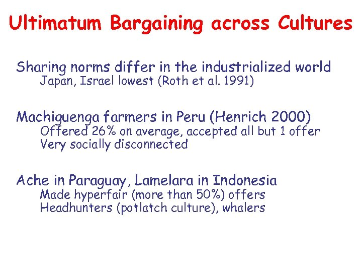 Ultimatum Bargaining across Cultures Sharing norms differ in the industrialized world Japan, Israel lowest