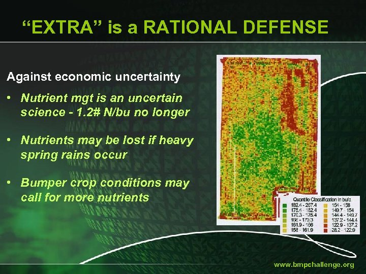 """EXTRA"" is a RATIONAL DEFENSE Against economic uncertainty • Nutrient mgt is an uncertain"