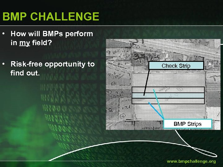 BMP CHALLENGE • How will BMPs perform in my field? • Risk-free opportunity to
