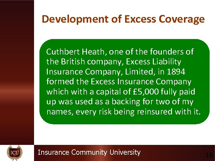 Development of Excess Coverage Cuthbert Heath, one of the founders of the British company,