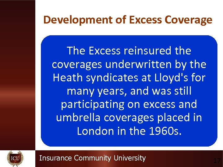 Development of Excess Coverage The Excess reinsured the coverages underwritten by the Heath syndicates