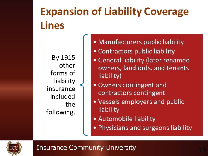 Expansion of Liability Coverage Lines By 1915 other forms of liability insurance included the
