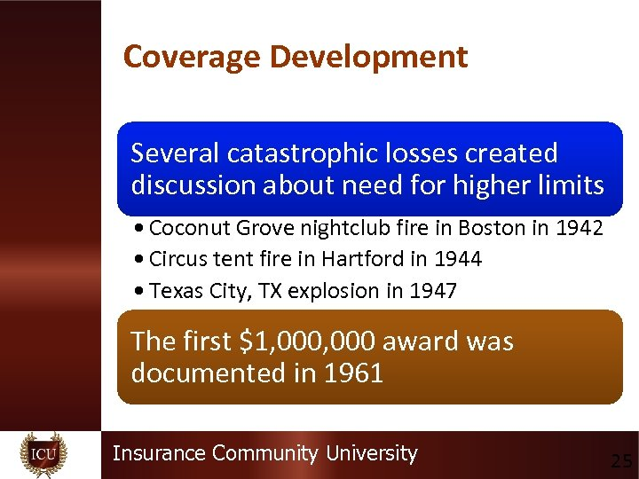 Coverage Development Several catastrophic losses created discussion about need for higher limits • Coconut