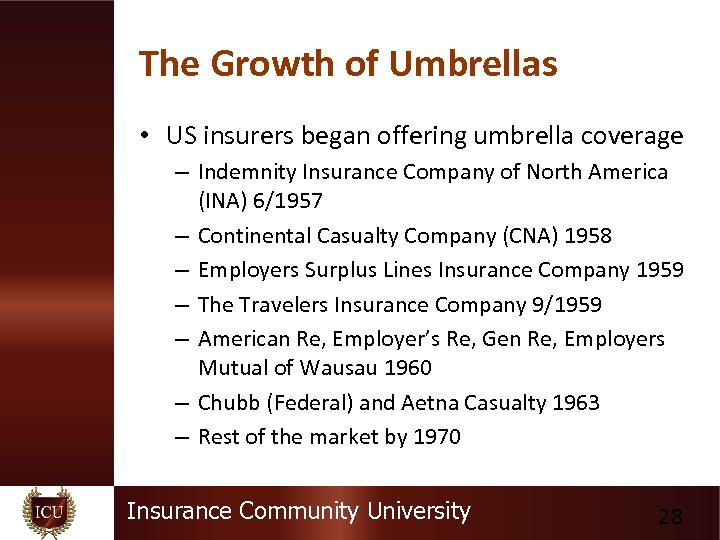 The Growth of Umbrellas • US insurers began offering umbrella coverage – Indemnity Insurance