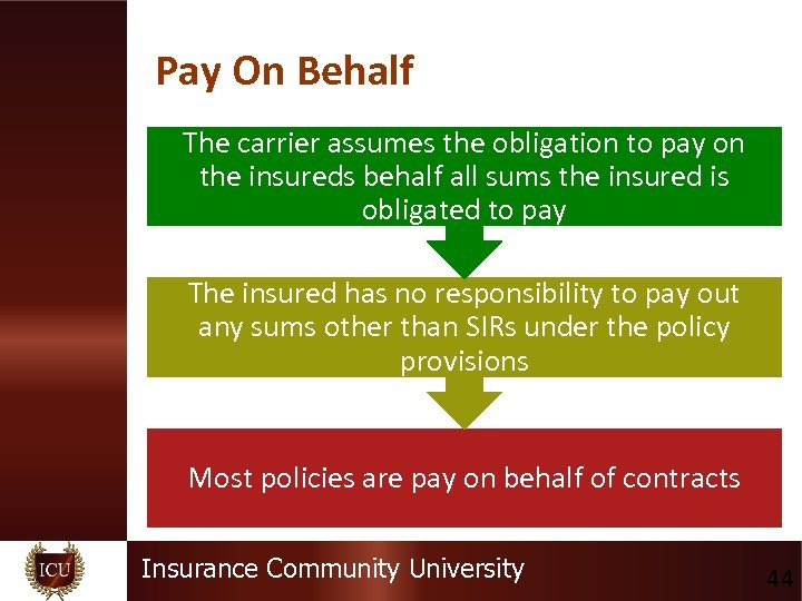 Pay On Behalf The carrier assumes the obligation to pay on the insureds behalf