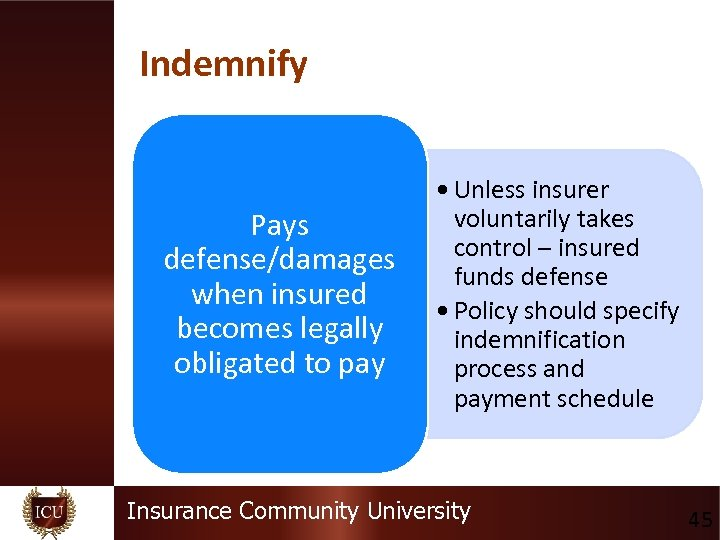 Indemnify Pays defense/damages when insured becomes legally obligated to pay • Unless insurer voluntarily