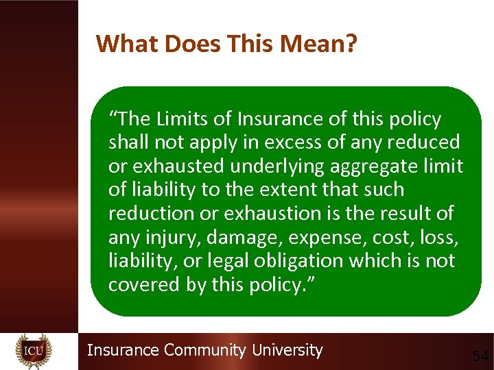 """What Does This Mean? """"The Limits of Insurance of this policy shall not apply"""