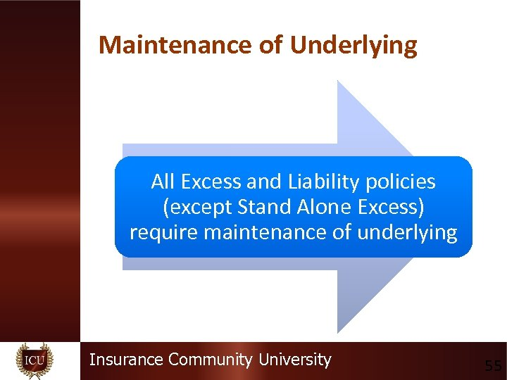 Maintenance of Underlying All Excess and Liability policies (except Stand Alone Excess) require maintenance