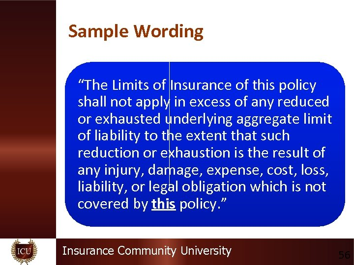"""Sample Wording """"The Limits of Insurance of this policy shall not apply in excess"""