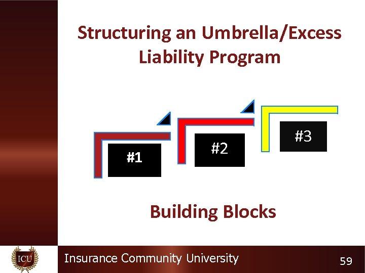 Structuring an Umbrella/Excess Liability Program #1 #2 #3 Building Blocks Insurance Community University 59