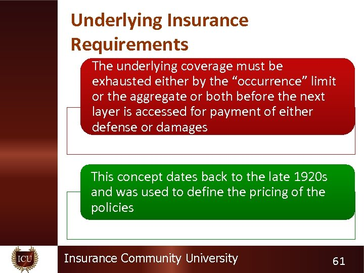 """Underlying Insurance Requirements The underlying coverage must be exhausted either by the """"occurrence"""" limit"""