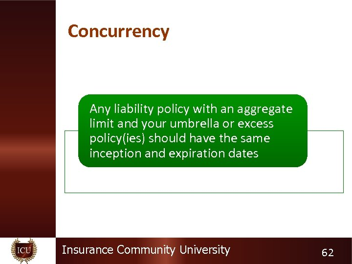 Concurrency Any liability policy with an aggregate limit and your umbrella or excess policy(ies)