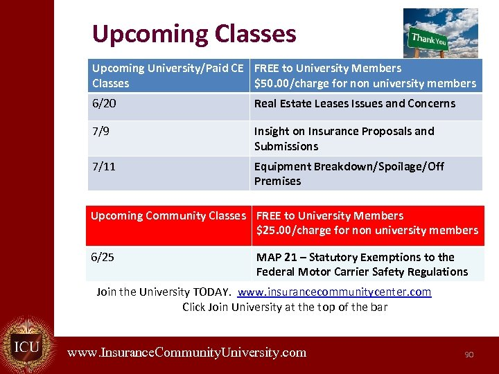 Upcoming Classes Upcoming University/Paid CE FREE to University Members Classes $50. 00/charge for non