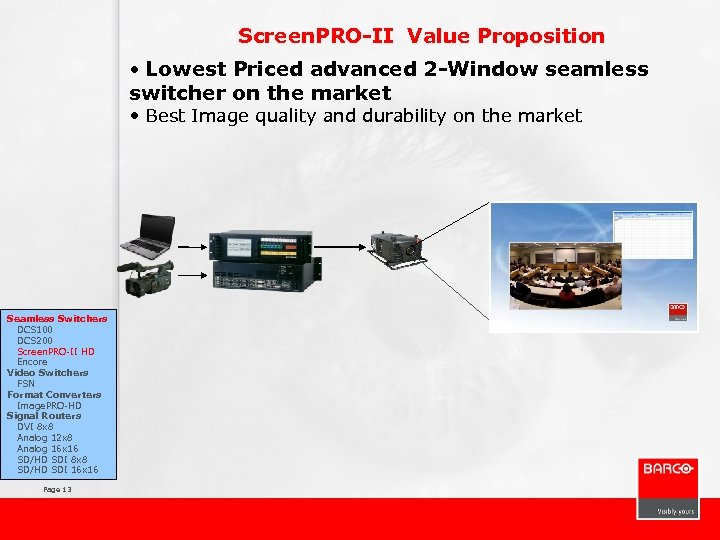 Screen. PRO-II Value Proposition • Lowest Priced advanced 2 -Window seamless switcher on the