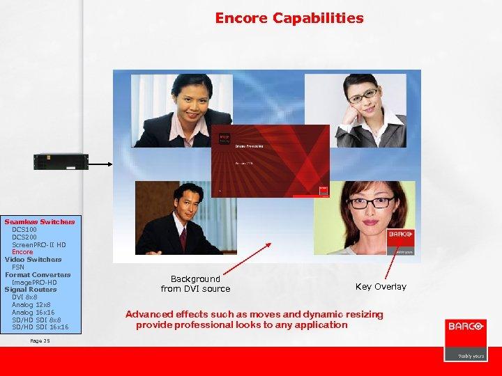 Encore Capabilities Seamless Switchers DCS 100 DCS 200 Screen. PRO-II HD Encore Video Switchers